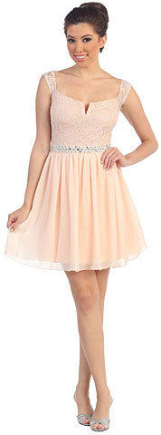 Wide U-Neck Lace Top Short Party Party Dress. p8884.