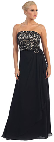 Strapless Lace Bust Wrap Style Long Plus Size Prom Dress. p8921.