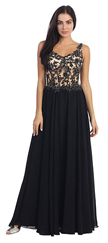 V-Neck Sheer Lace Beaded Bodice Long Formal Dress. p8940.