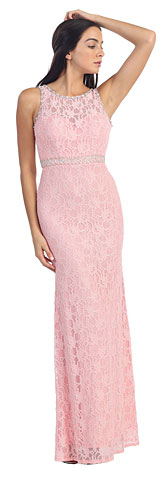 Floral Lace Beaded Long Formal Dress with Cutout. p8943a.