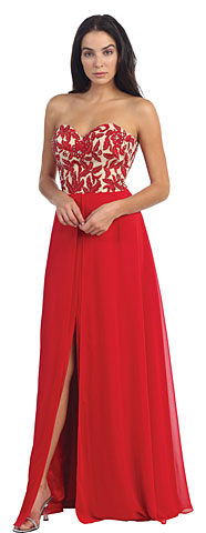 Strapless Floral Embroidered Top Long Formal Dress. p8949.