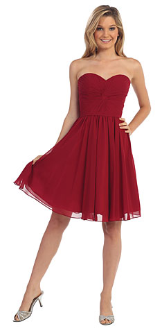 Strapless Pleated Knot Bust Short  Bridesmaid Dress. p8951.