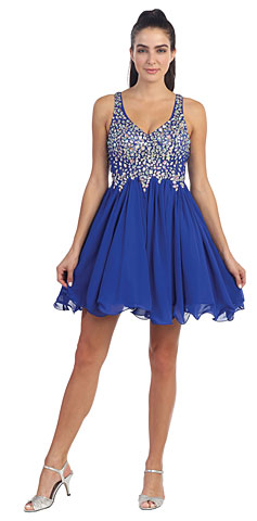 V-Neck Racer Back Rhinestones Bust Short Formal Prom Dress. p8997.