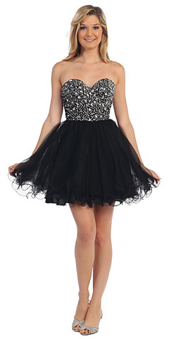 Strapless Bejeweled Bodice Short Tulle Prom Party Dress. p9001.