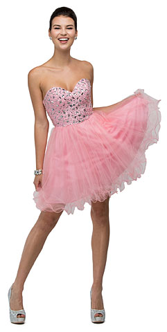 Strapless Bejeweled Bodice Short Tulle Prom Plus Size Prom Dress. p9001.