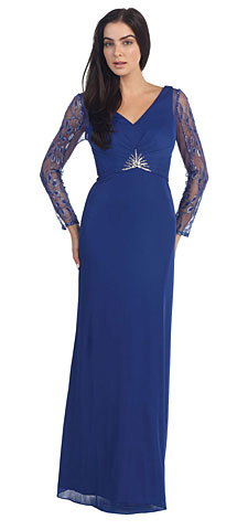 V-Neck Full Sleeves Long Formal Mother of the Bride Dress. p9015.