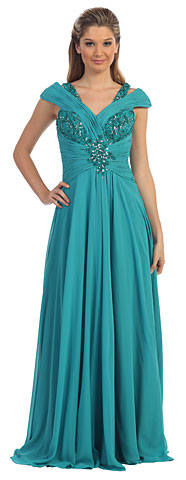 V-Neck Beaded Ruched Bodice Long Formal MOB Dress. p9043.