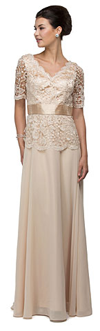 V-Neck Half Sleeves Lace Bodice Long Formal MOB Dress. p9044.
