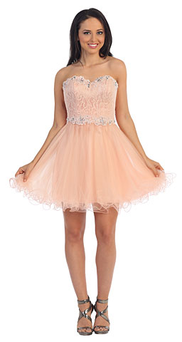 Strapless Lace Bust Short Babydoll Homecoming Party Dress. p9082.