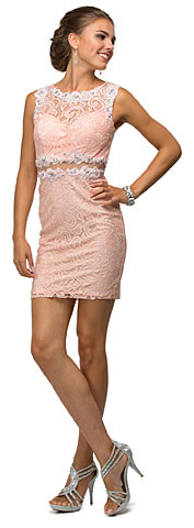 Form Fitting Sheer Lace Short Homecoming Homecoming Dress. p9099.