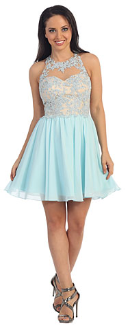 Sheer Lace Bodice Chiffon Short Homecoming Party Party Dress. p9102.