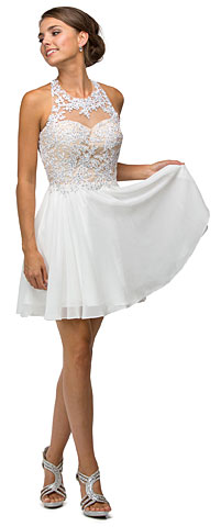 Sheer Lace Bodice Chiffon Short Homecoming Prom Plus Size Prom Dress. p9102.