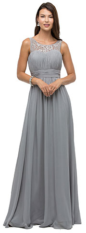 Lace Neck Ruched Bust Long Formal Bridesmaid Dress. p9111.