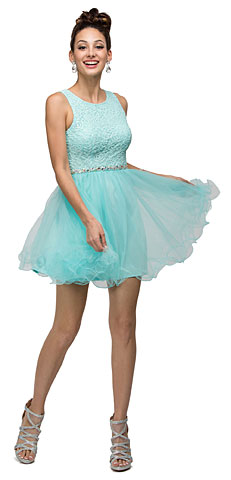 Floral Bust Babydoll Short Tulle Homecoming Graduation Dress. p9126.