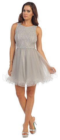 Floral Bust Babydoll Short Tulle Homecoming Party Dress. p9126.