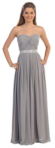 Strapless Pleated Jewel Waist Long Formal Bridesmaid Dress. p9137.