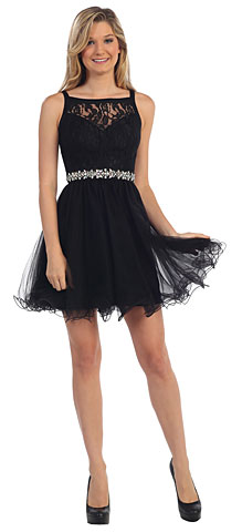Lace Bodice Jewel Waist Short Tulle Homecoming Party Dress. p9139.