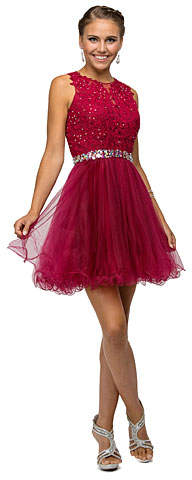 Lace Top Tulle Skirt Short Homecoming Party Dress. p9159.