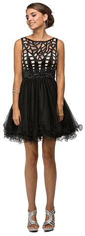 Web Pattern Bodice Beaded Short Tulle Homecoming Party Dress. p9168.