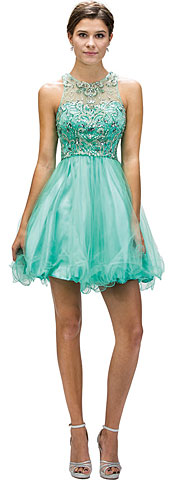 Beaded Bust Tulle Skirt Short Homecoming Party Dress. p9179.