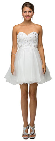 Strapless Lace Bodice Tulle Short Homecoming Party Dress. p9181.