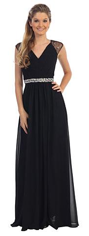 V-Neck Pleated Jewels Waist Long Formal Bridesmaid Dress. p9182.