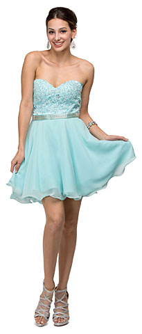 Strapless Lace Bust Short Homecoming Party Dress. p9184.
