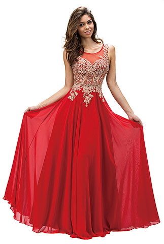 Jewel Embellished Sheer Mesh Top Chiffon Prom Dress. p9191.