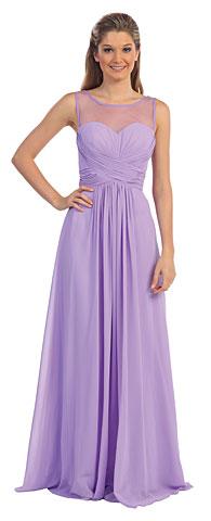 Mesh Neck Ruched Bust Long formal Bridesmaid Dress. p9202.