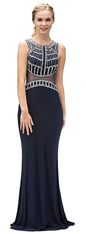 Bejeweled Top Sheer Waist Floor length Prom Dress. p9230.