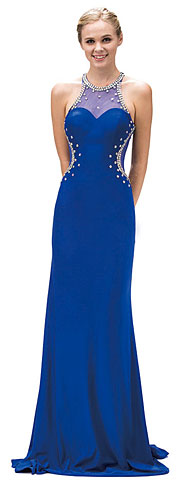 Bejeweled Sheer Mesh Top Floor Length Formal Prom Dress. p9274.