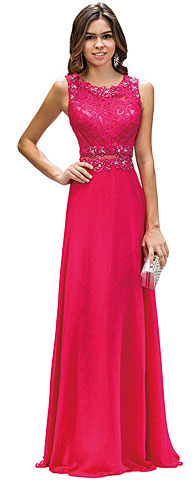 Mock Two Piece Lace Bodice Floor Length Prom Dress. p9322.