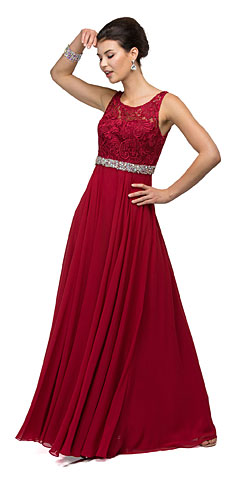 Lace Top Embellished Waist Long Formal Evening Dress. p9325.