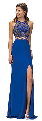 Sleeveless Beaded Top High Neck Long Formal Prom Dress. p9339.