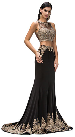 Floral Lace Accents Two Piece Long Formal Prom Dress. p9391.