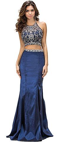 Racerback Bejeweled Top Taffeta Skirt Two Piece Prom Dress. p9392.