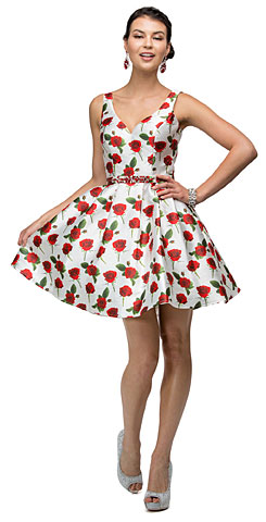 V-Neck Rose Print Jewel Waist Short Homecoming Dress. p9443.