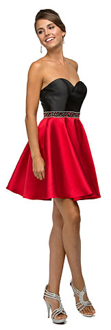 Strapless Sweetheart Two Tone Short Homecoming Party Dress. p9460.