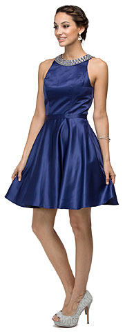 Jeweled Collar Scoop Neck Short Homecoming Homecoming Dress. p9463.