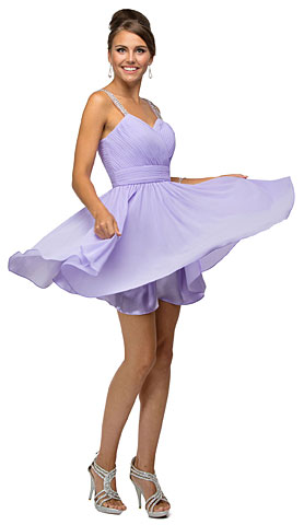 Ruched Bodice Beaded Straps Short Bridesmaid Dress. p9472.