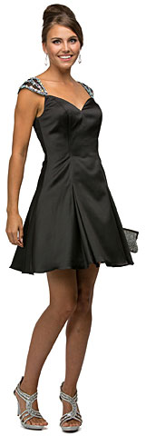 Jeweled Cap Sleeves Flared Short Homecoming Party Dress. p9476.
