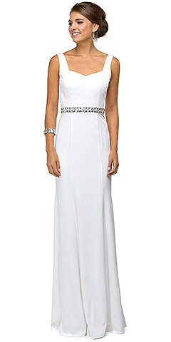 Wide V-Neck Beaded Waist Long Formal Dress. p9487.