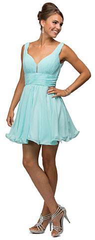 V-Neck Ruched Bodice Short Homecoming Bridesmaid Dress. p9496.