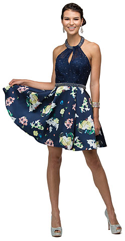 Lace Halter Top Floral Print Skirt Short Homecoming Dress. p9499.