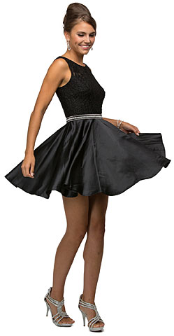 Lace Bodice Beaded Waist Short Homecoming Graduation Dress. p9503.