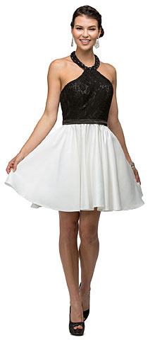 Halter Lace Top Beaded Neck Short Homecoming Party Dress. p9509.