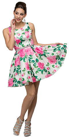 Floral Print Cut-Out Back Sleeveless Short Homecoming Dress. p9511.
