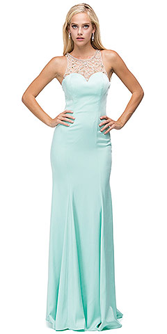 Rhinestones Mesh Neck & Back Long Plus Size Prom Dress. p9715.