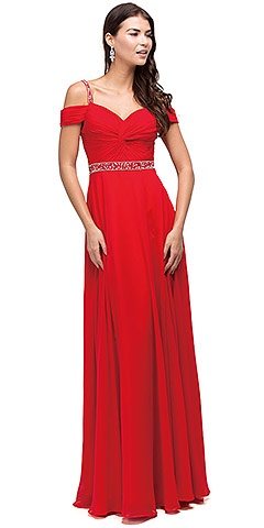 Cold Shoulder Beaded Waist Long Bridesmaid Dress. p9718.