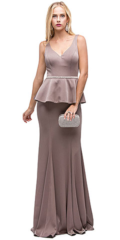 Deep V-Neck Peplum Bodice Long Prom Dress. p9750.